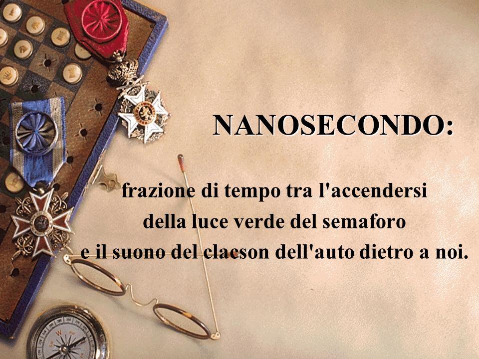 NANOSECONDO: frazione di tempo tra l accendersi