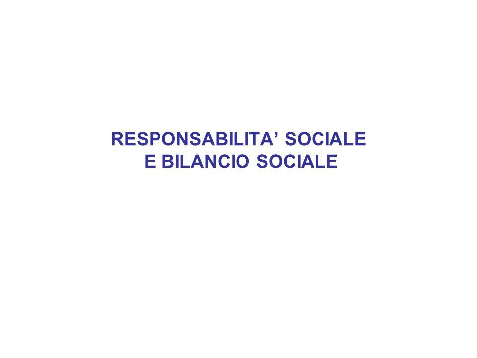 RESPONSABILITA' SOCIALE E BILANCIO SOCIALE