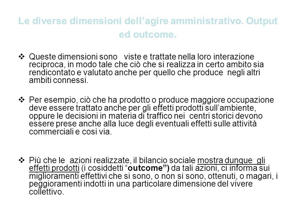 Le diverse dimensioni dell'agire amministrativo. Output ed outcome.
