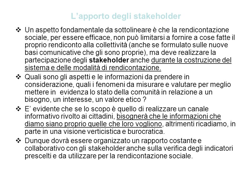 L'apporto degli stakeholder