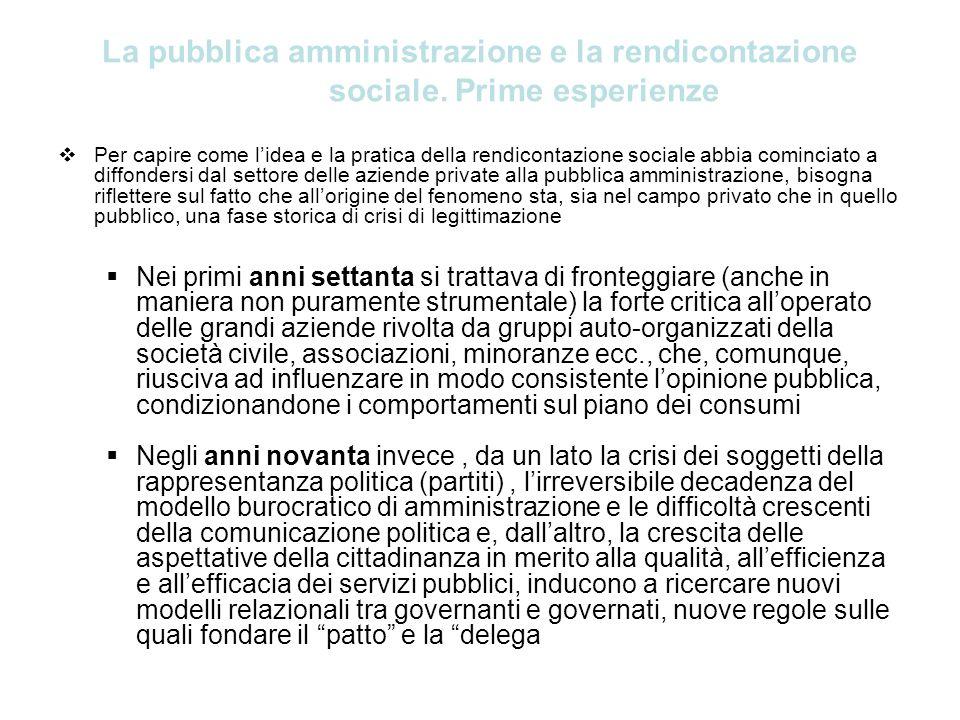 La pubblica amministrazione e la rendicontazione sociale