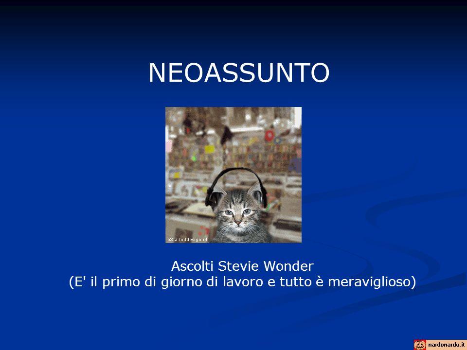 NEOASSUNTO Ascolti Stevie Wonder (E il primo di giorno di lavoro e tutto è meraviglioso)