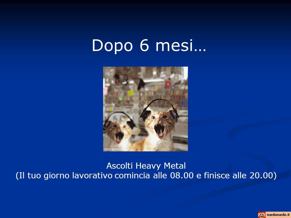 Dopo 6 mesi… Ascolti Heavy Metal (Il tuo giorno lavorativo comincia alle 08.00 e finisce alle 20.00)