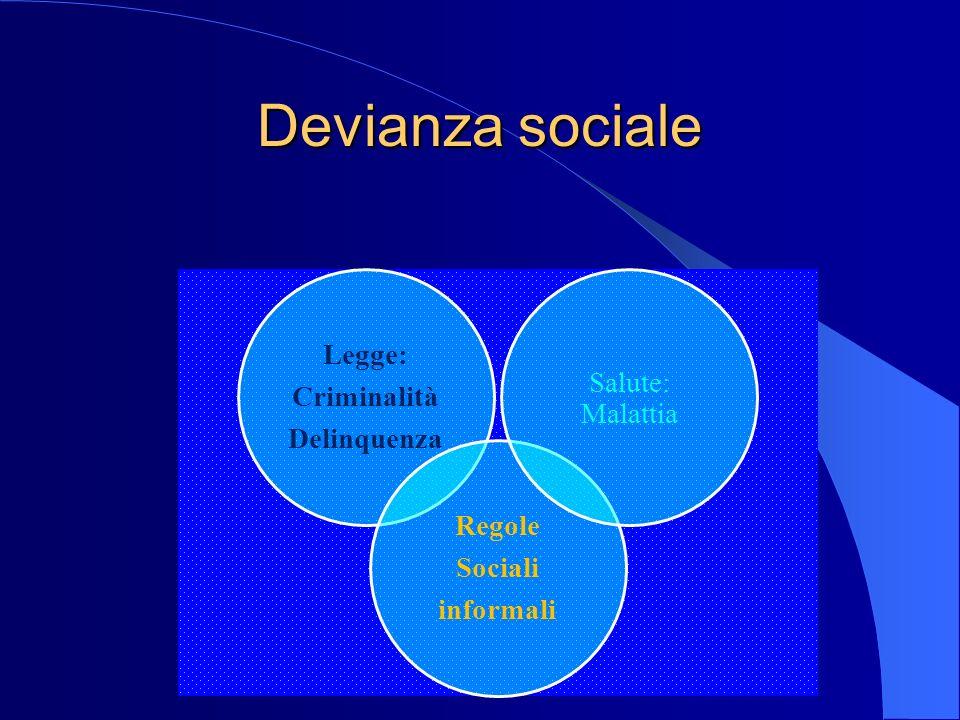 Devianza sociale Legge: Salute: Criminalità Malattia Delinquenza