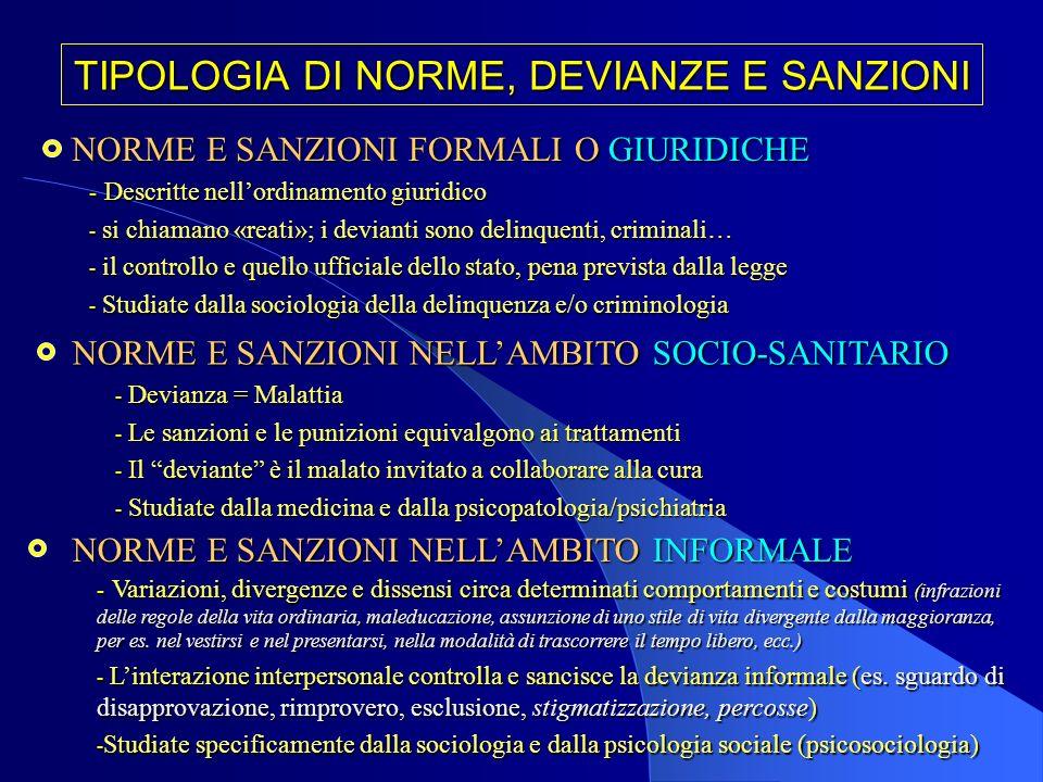 TIPOLOGIA DI NORME, DEVIANZE E SANZIONI