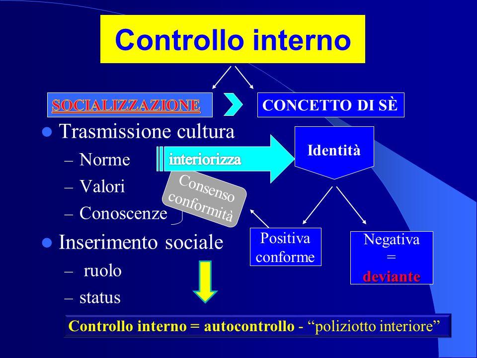 Controllo interno Trasmissione cultura Inserimento sociale Norme