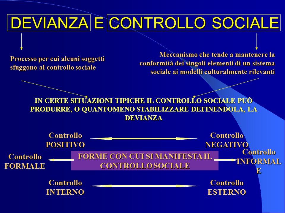 DEVIANZA E CONTROLLO SOCIALE