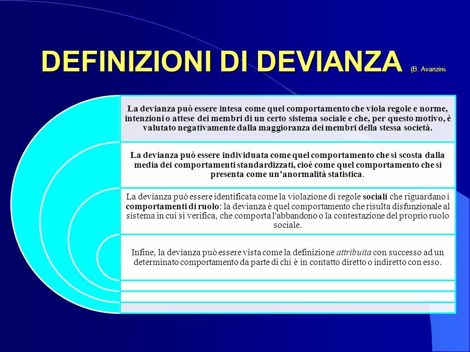 DEFINIZIONI DI DEVIANZA (B. Avanzini)