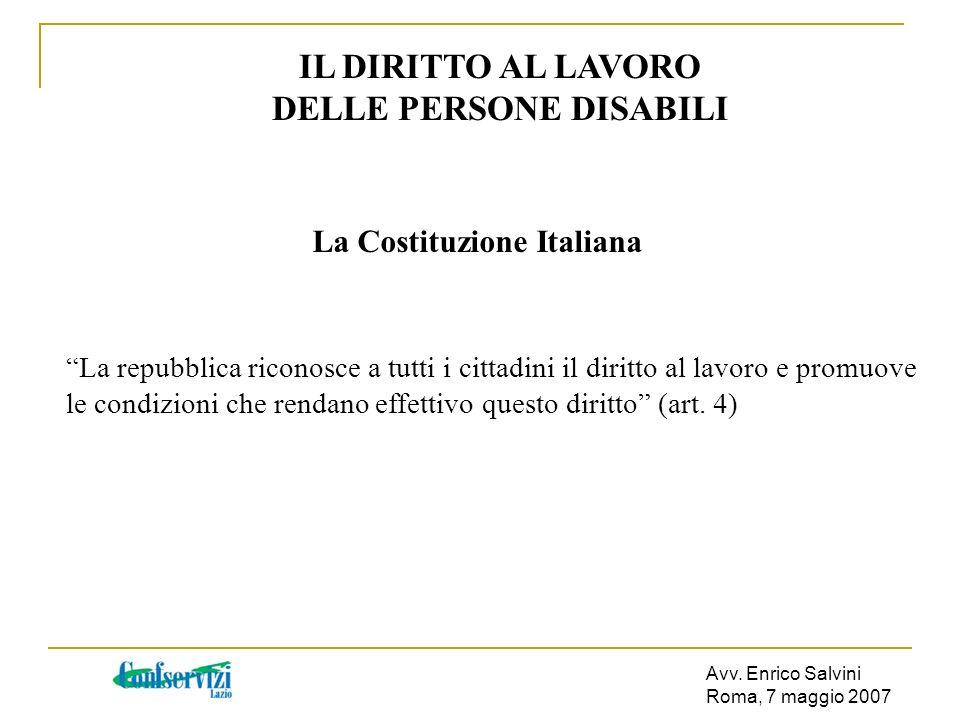 DELLE PERSONE DISABILI La Costituzione Italiana