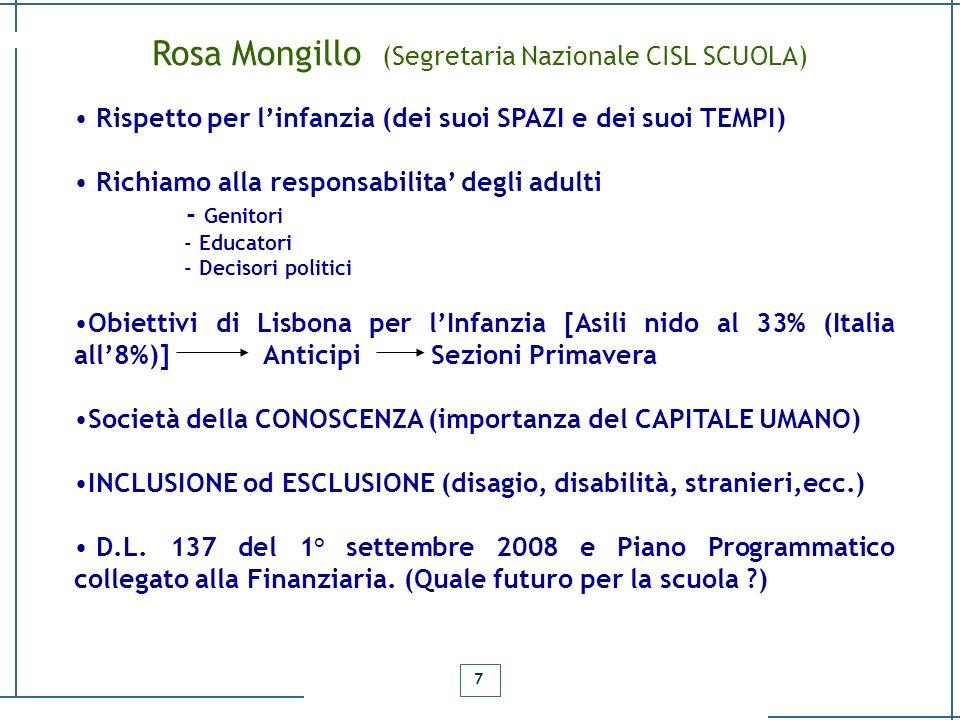 Rosa Mongillo (Segretaria Nazionale CISL SCUOLA)
