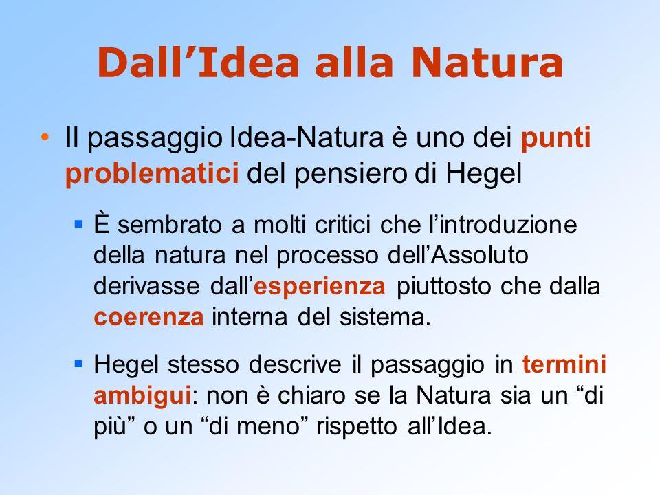 Dall'Idea alla Natura Il passaggio Idea-Natura è uno dei punti problematici del pensiero di Hegel.