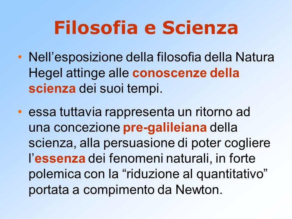 Filosofia e Scienza Nell'esposizione della filosofia della Natura Hegel attinge alle conoscenze della scienza dei suoi tempi.