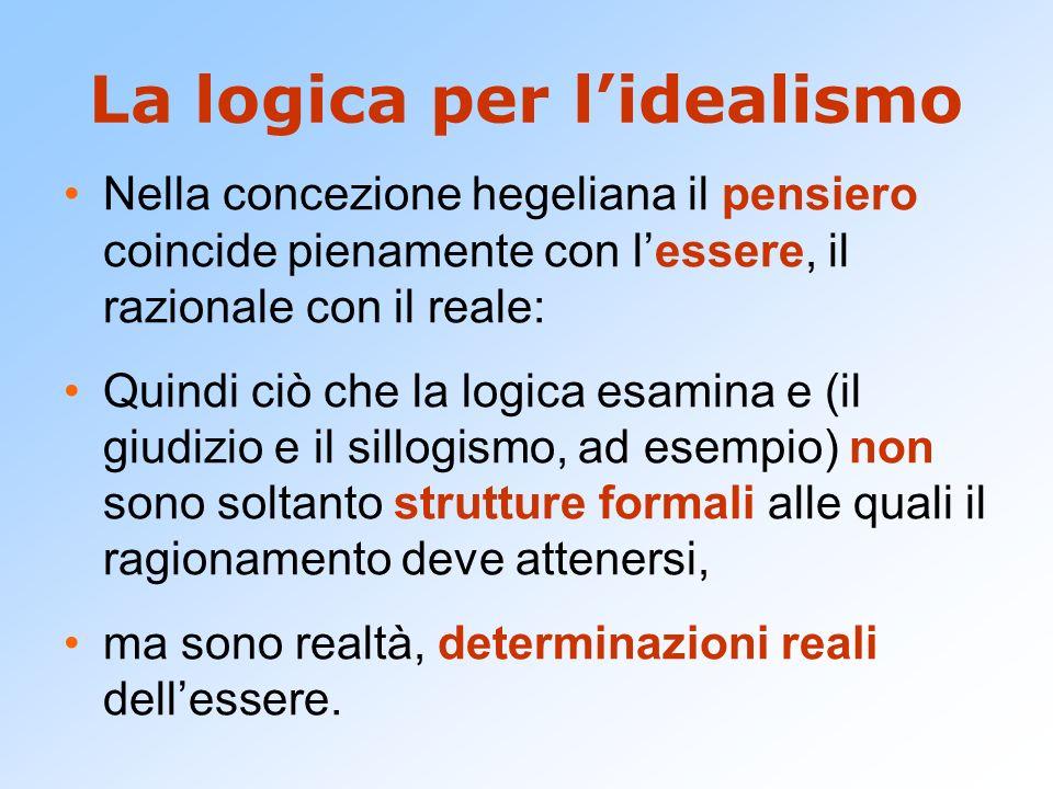 La logica per l'idealismo