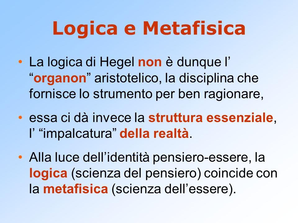 Logica e Metafisica La logica di Hegel non è dunque l' organon aristotelico, la disciplina che fornisce lo strumento per ben ragionare,