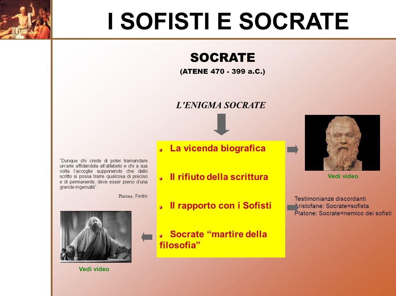 I SOFISTI E SOCRATE SOCRATE L ENIGMA SOCRATE La vicenda biografica