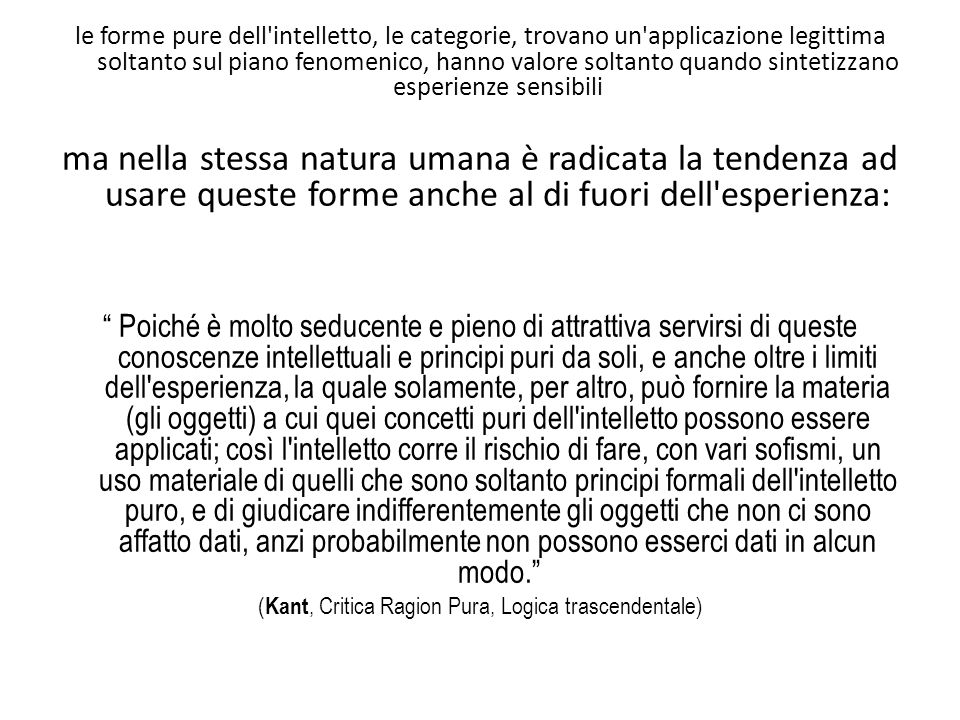 (Kant, Critica Ragion Pura, Logica trascendentale)