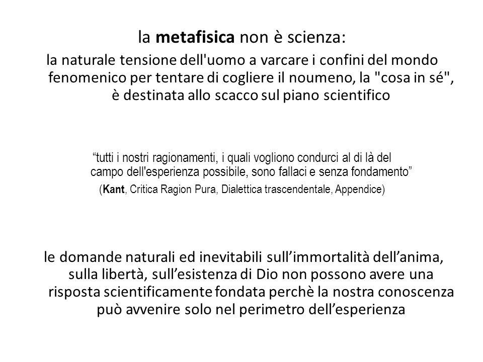 la metafisica non è scienza: