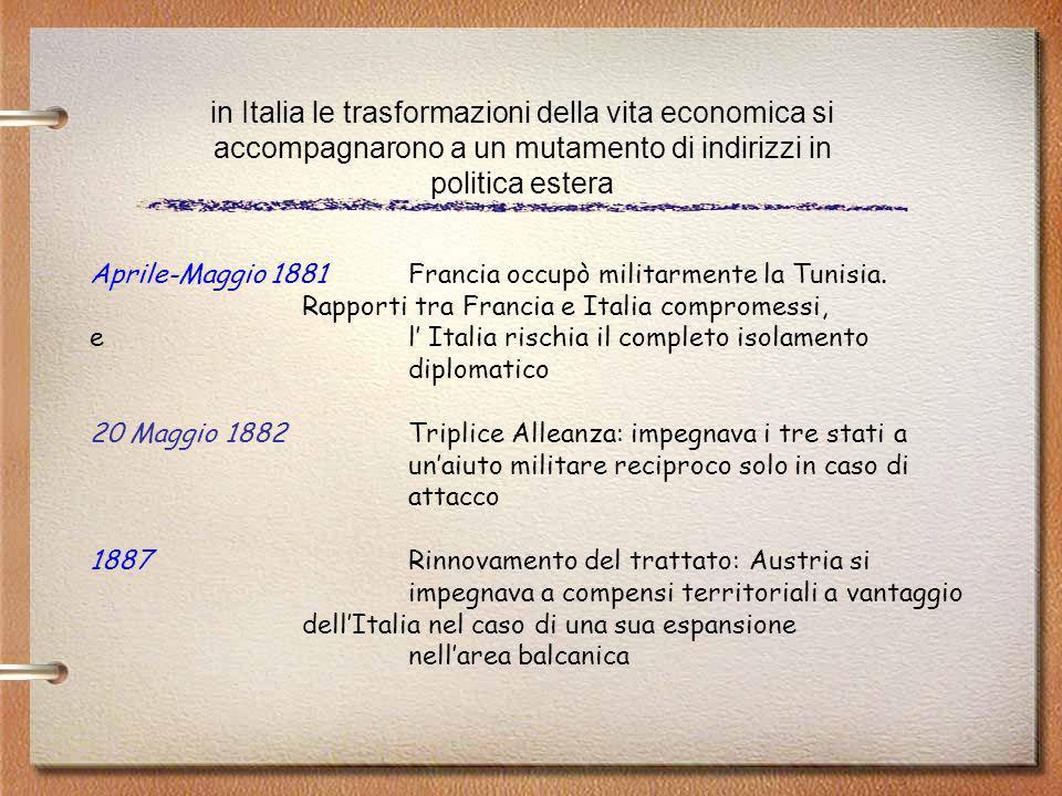 in Italia le trasformazioni della vita economica si accompagnarono a un mutamento di indirizzi in politica estera