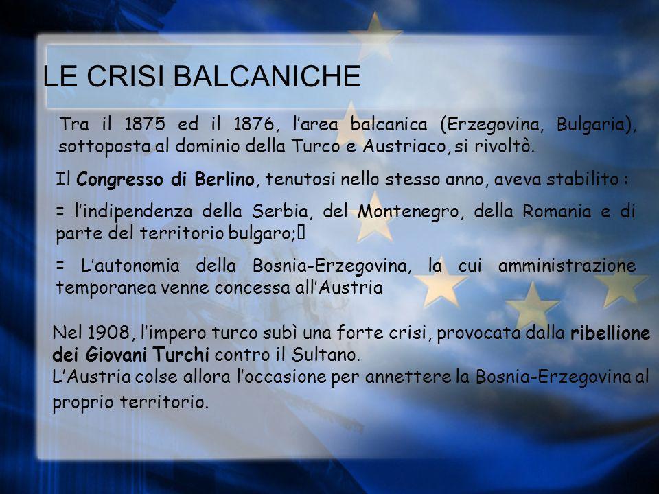 LE CRISI BALCANICHE Tra il 1875 ed il 1876, l'area balcanica (Erzegovina, Bulgaria), sottoposta al dominio della Turco e Austriaco, si rivoltò.