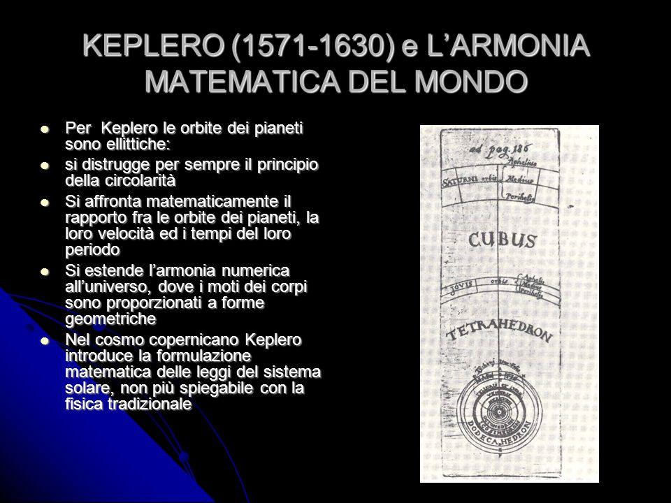 KEPLERO (1571-1630) e L'ARMONIA MATEMATICA DEL MONDO
