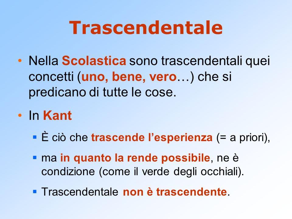 Trascendentale Nella Scolastica sono trascendentali quei concetti (uno, bene, vero…) che si predicano di tutte le cose.