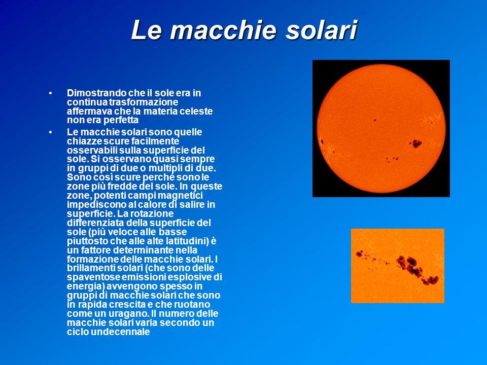 Le macchie solari Dimostrando che il sole era in continua trasformazione affermava che la materia celeste non era perfetta.