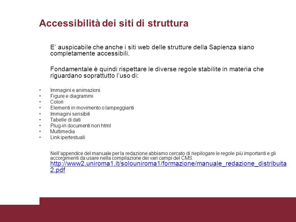 Accessibilità dei siti di struttura