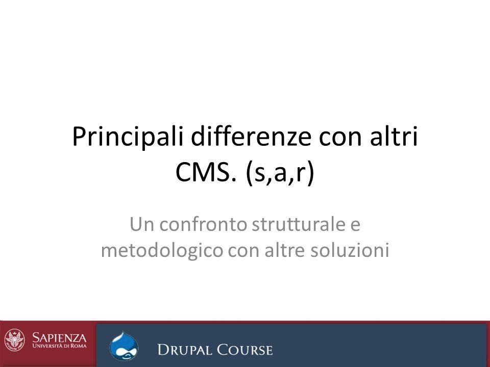 Principali differenze con altri CMS. (s,a,r)
