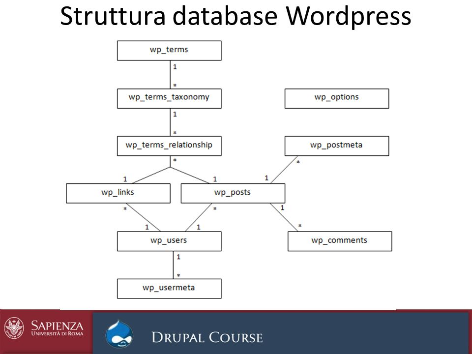 Struttura database Wordpress