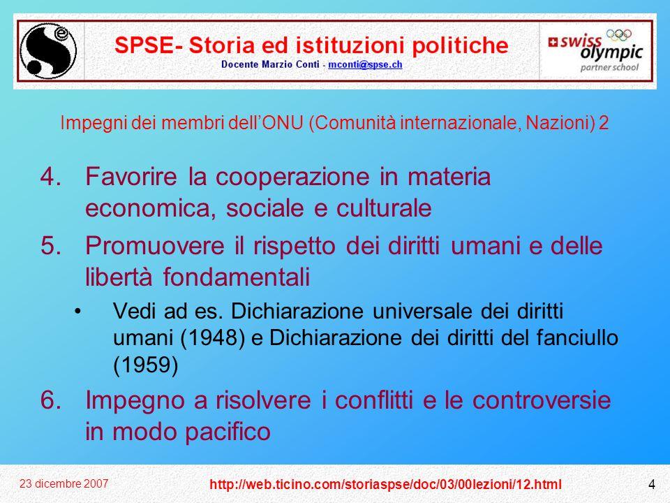 Impegni dei membri dell'ONU (Comunità internazionale, Nazioni) 2