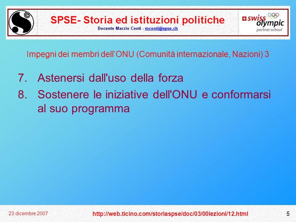 Impegni dei membri dell'ONU (Comunità internazionale, Nazioni) 3