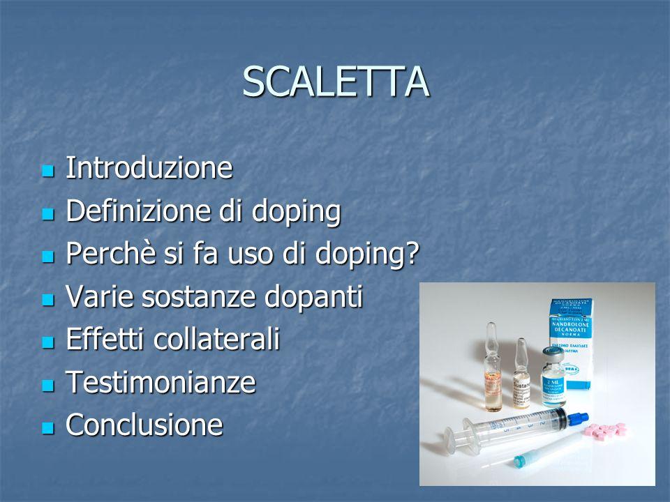 SCALETTA Introduzione Definizione di doping