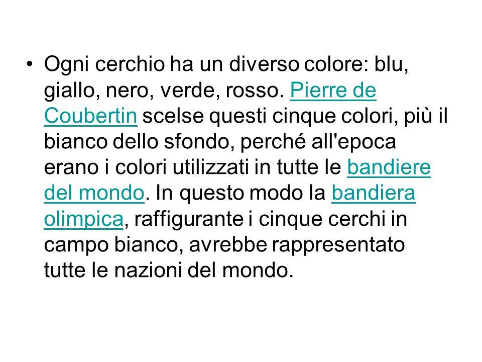 Ogni cerchio ha un diverso colore: blu, giallo, nero, verde, rosso