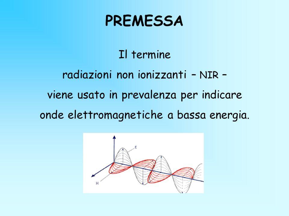 PREMESSA Il termine radiazioni non ionizzanti – NIR –