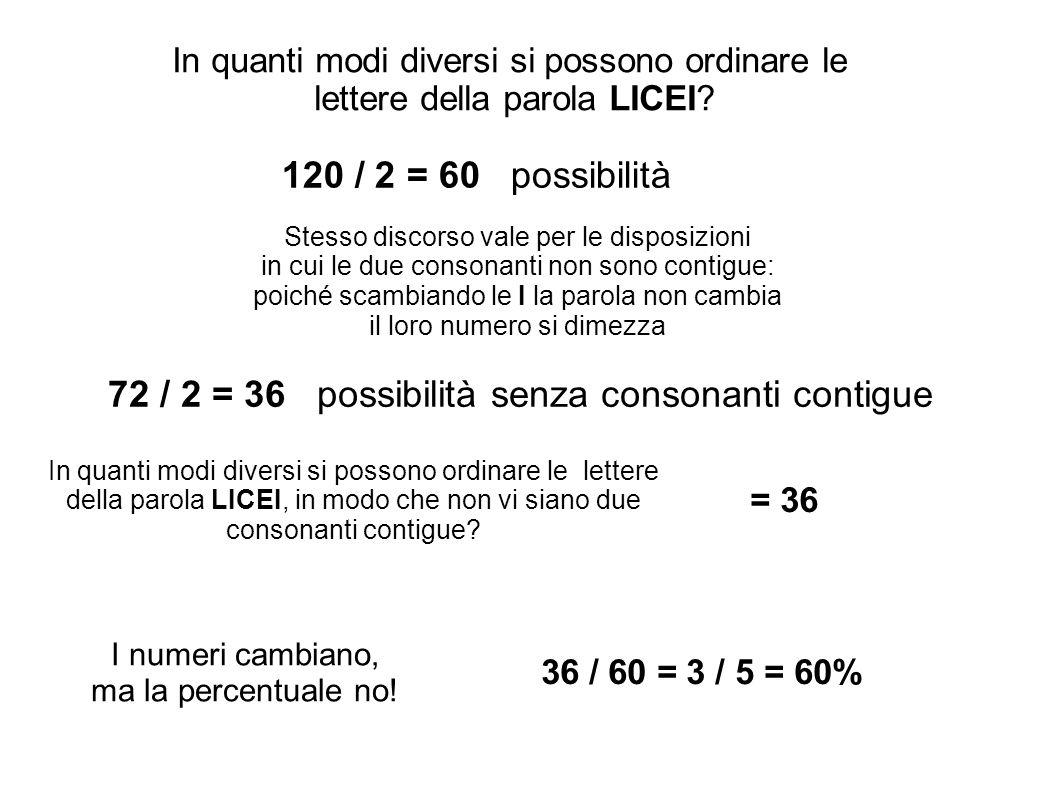 72 / 2 = 36 possibilità senza consonanti contigue