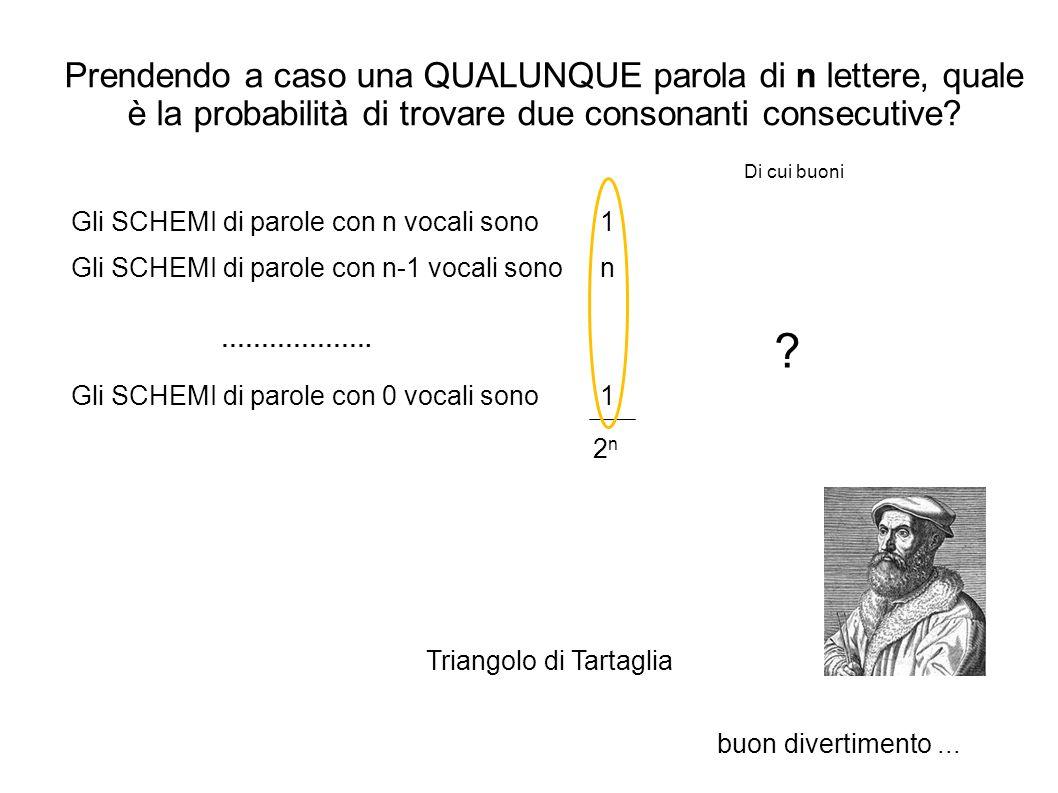 Prendendo a caso una QUALUNQUE parola di n lettere, quale è la probabilità di trovare due consonanti consecutive