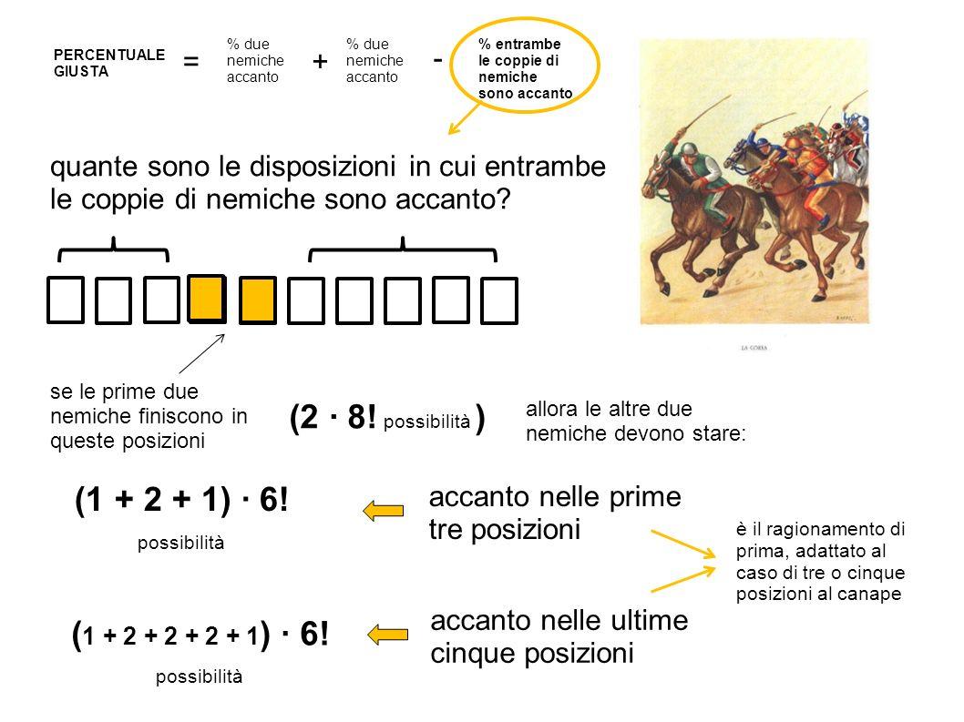 (2 ∙ 8! possibilità ) (1 + 2 + 1) ∙ 6! possibilità
