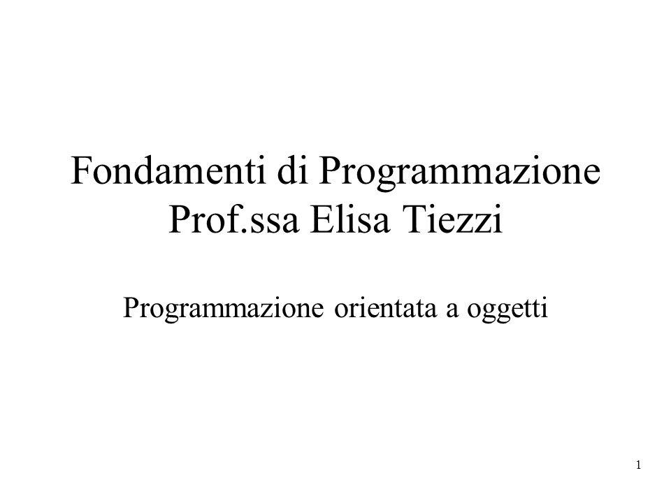 Fondamenti di Programmazione Prof.ssa Elisa Tiezzi