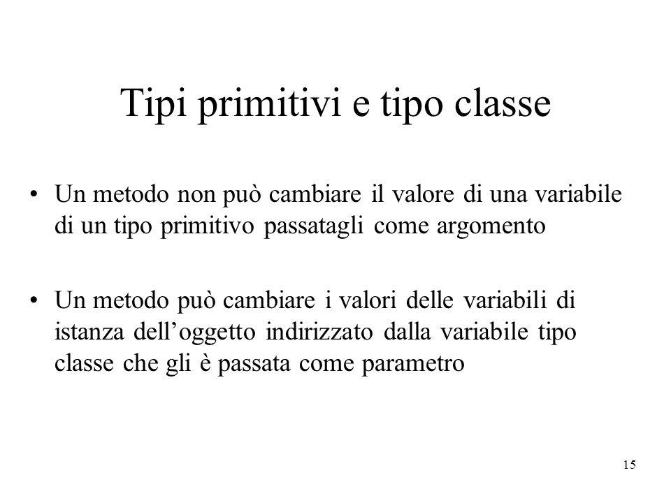 Tipi primitivi e tipo classe