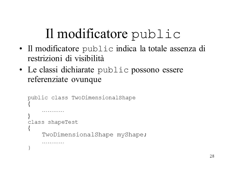 Il modificatore public
