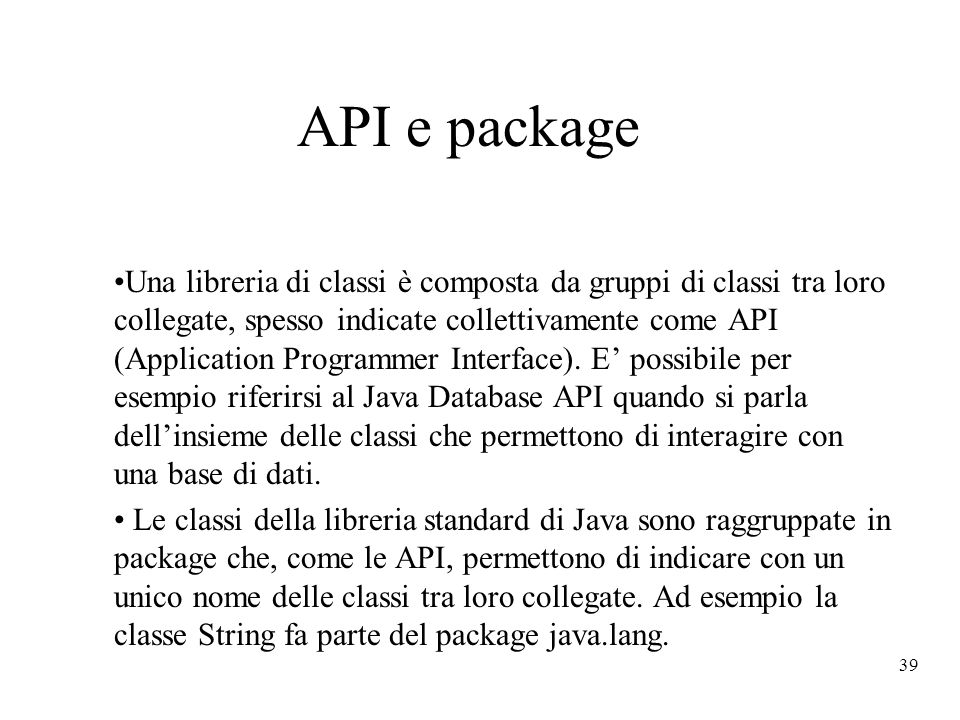 API e package
