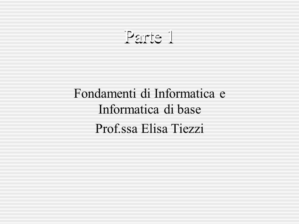Fondamenti di Informatica e Informatica di base Prof.ssa Elisa Tiezzi