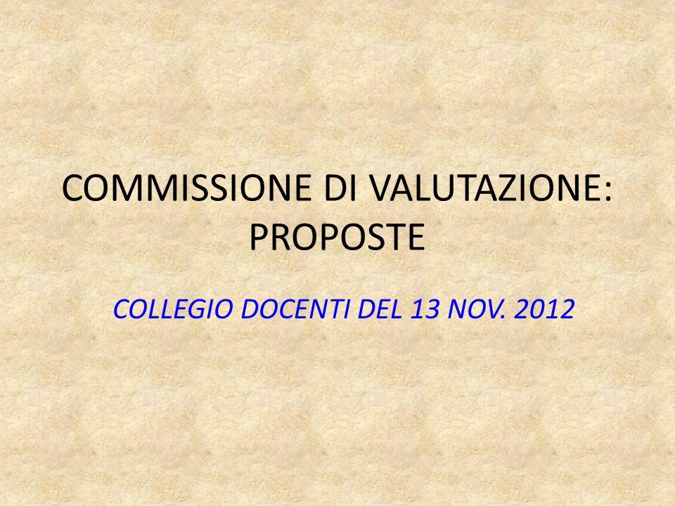 COMMISSIONE DI VALUTAZIONE: PROPOSTE