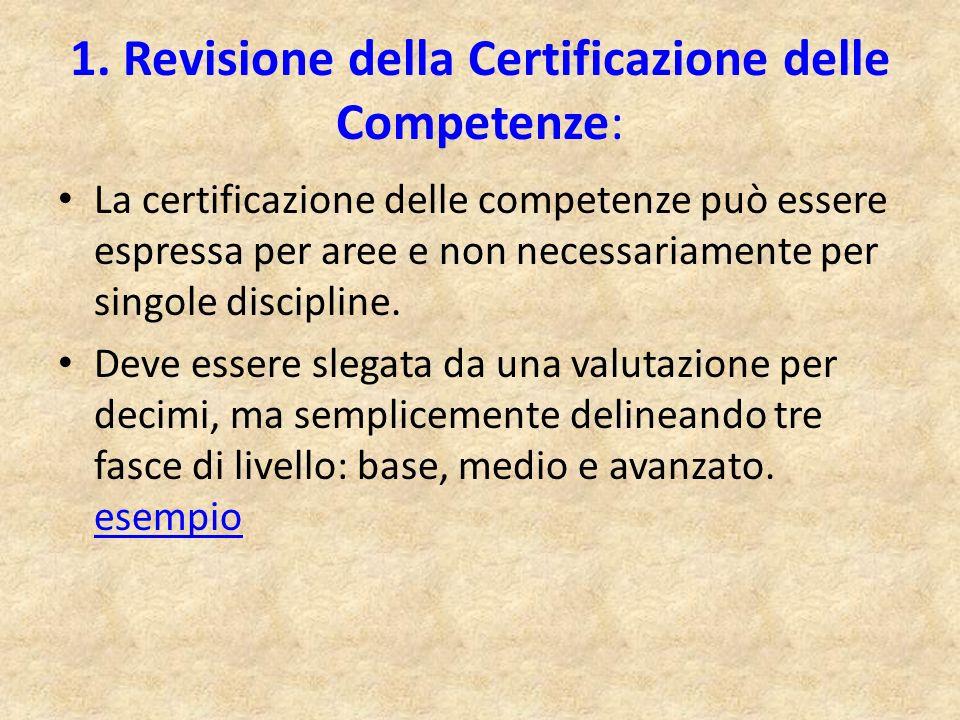 1. Revisione della Certificazione delle Competenze:
