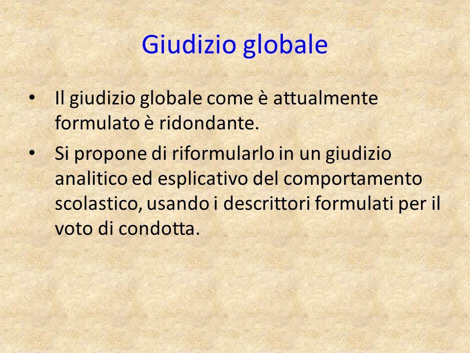 Giudizio globale Il giudizio globale come è attualmente formulato è ridondante.