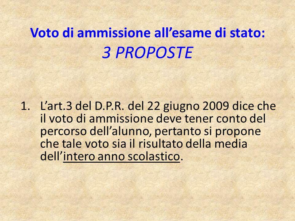 Voto di ammissione all'esame di stato: 3 PROPOSTE