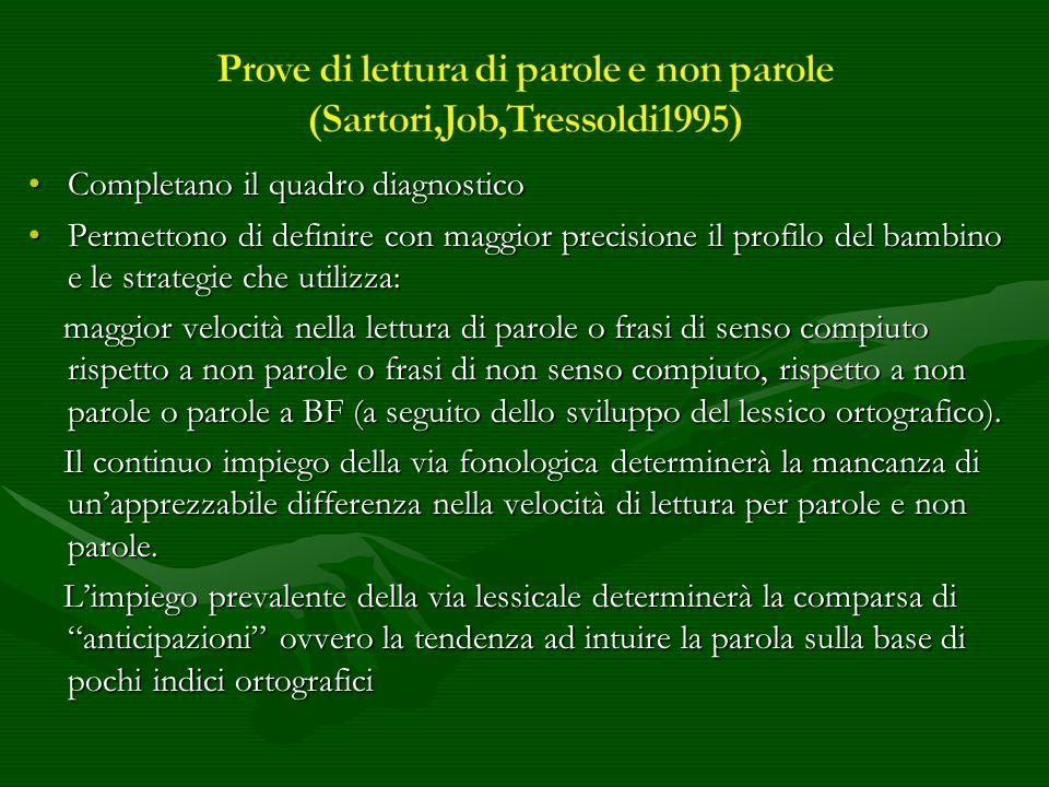 Prove di lettura di parole e non parole (Sartori,Job,Tressoldi1995)