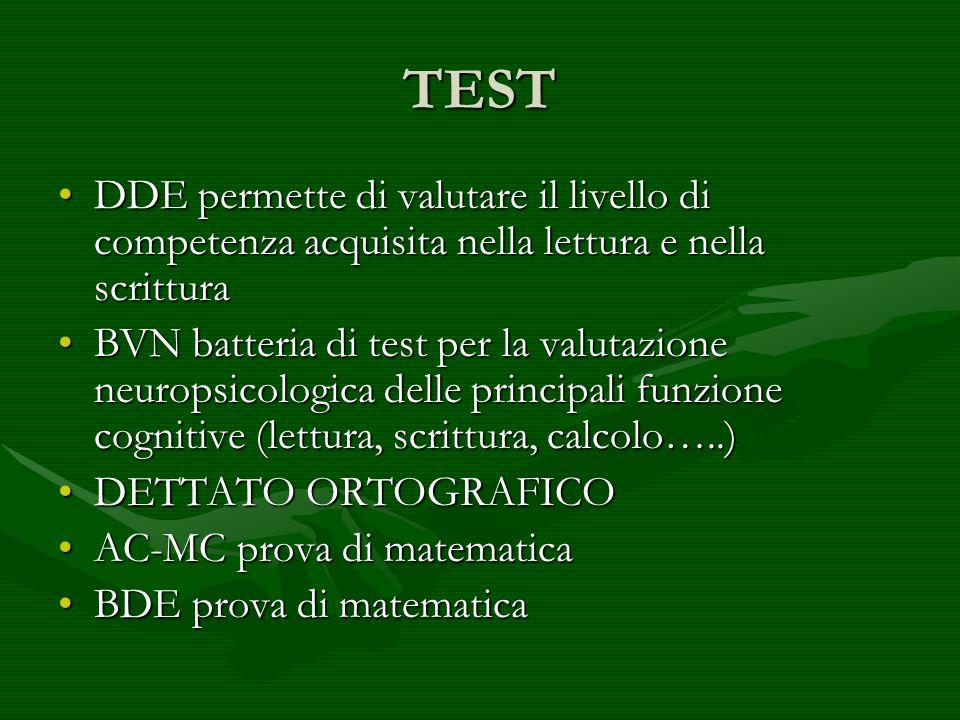 TEST DDE permette di valutare il livello di competenza acquisita nella lettura e nella scrittura.