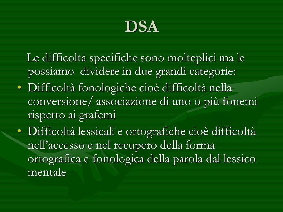 DSA Le difficoltà specifiche sono molteplici ma le possiamo dividere in due grandi categorie: