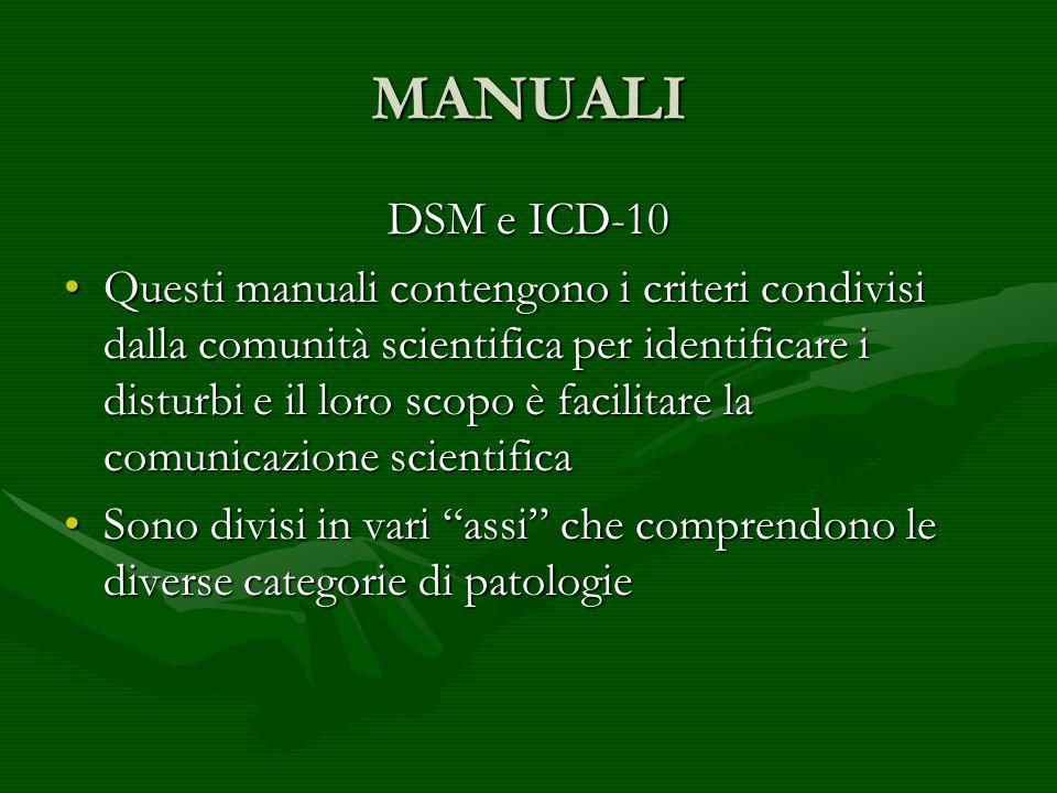 MANUALI DSM e ICD-10.
